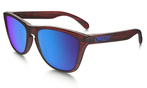 Oakley Frogskins Sunglasses Matte Red Woodgrain with Sapphire Iridium Lens + - Oakley Frogskins Red