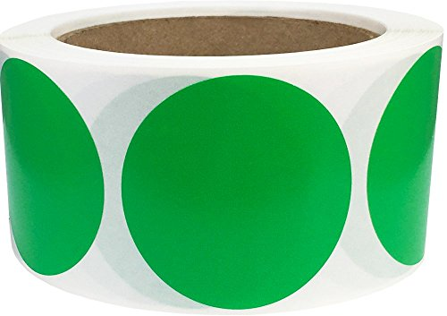 Green Inventory Circle Labels - Spring Green Color Coding Labels for Organizing Inventory 2 Inch Round Circle Dots 500 Total Adhesive Stickers On A Roll