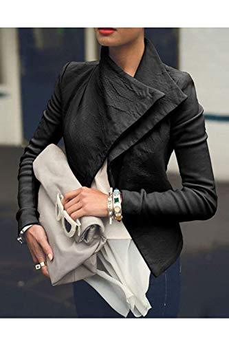 Giubbino Outerwear Manica Solidi Autunno Streetwear Eleganti Colori Primaverile Libero Nero Slim Semplice Tempo Giacche Moda Stile Jacket Tendenza Coole Fit Glamorous Donna Lunga nqYwRvR8