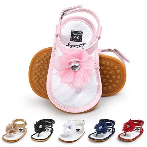 Infant Girls Sandals - Infant Baby Girls Sandals Bowknots Summer Shoes Soft Sole T-Strap Toddler First Walker Crib Shoes (12-18 Months M US Toddler, D-Pink)