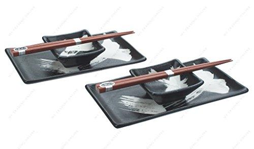 M.V. Trading MVNB-14 Japanese Sushi Set for Two, Black with White Stroke