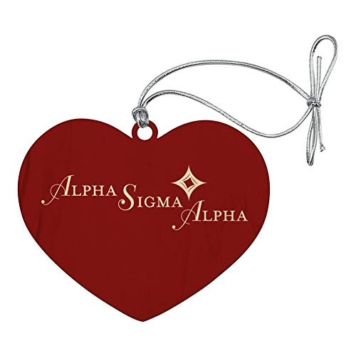 GRAPHICS & MORE Alpha Sigma Alpha Sorority Logo Fraternity Heart Love Wood Christmas Tree Holiday Ornament