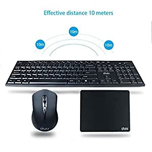 Wireless Keyboard and Mouse, 2.4GHz Keyboard Mouse Combo and Mouse Pad with Whisper-Quiet Full-Size Keyboard Design for Windows, Notebook, PC, Smart TV … (Keyboard and Mouse)
