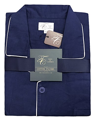 Men's 100% Cotton Pajama Set, Long Sleeve Woven Sleepwear from Tony & Candice (X-Large, Navy Blue with White Piping) by TONY AND CANDICE (Image #5)