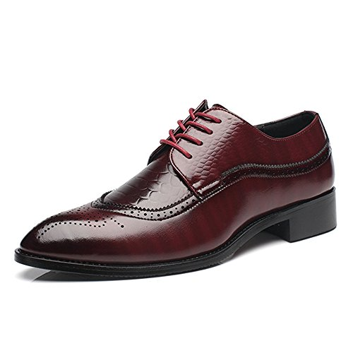 WQX Men's Big Size Oxford Wingtip Lace Dress Business Pointed Toe Classic Modern Shoes Red Wine 13 (Oxfords Lace Pointed Toe)