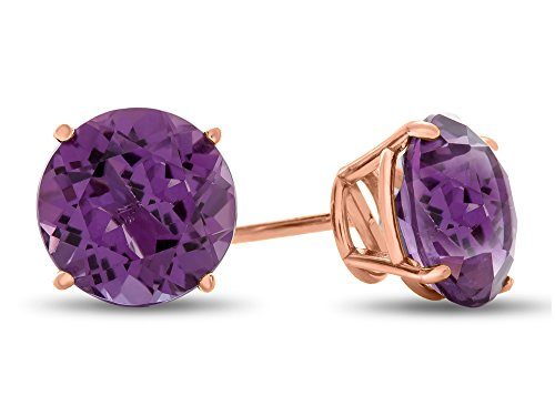 Finejewelers 14k Rose Gold 7mm Round Amethyst Post-With-Friction-Back Stud Earrings