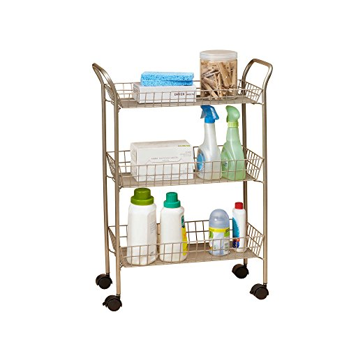 3 tier rolling bath shower essentials cart in matte nickel finished steel - Bathroom Cart