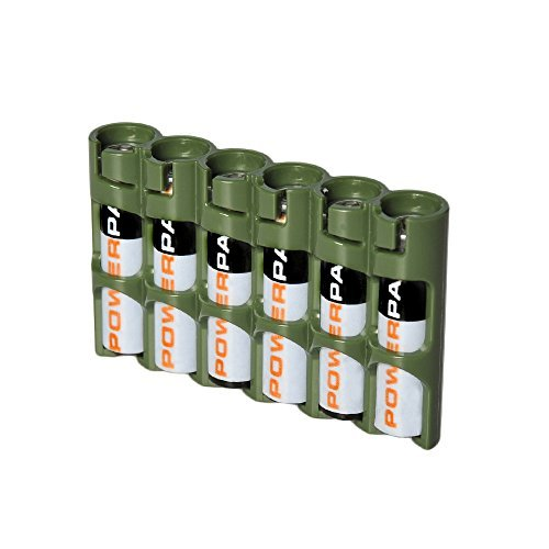 Storacell by Powerpax SlimLine AAA Battery Caddy, Military Green, Holds 6 Batteries by Storacell