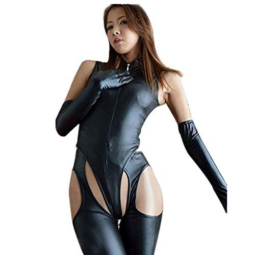 f7099ef3e26 iEFiEL Women Faux Leather Lingerie Romper Jumpsuit Pants Leotard Party  Clubwear Catsuit