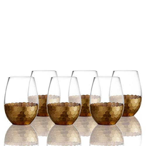 Fitz and Floyd Stemless Wine Glass Set of 6 - Elegant Lead-free Matching Drinkware Perfect For Everyday Use Or Entertaining - Stylish Modern Glasses Make An Ideal Gift For Weddings, Birthdays, Holiday