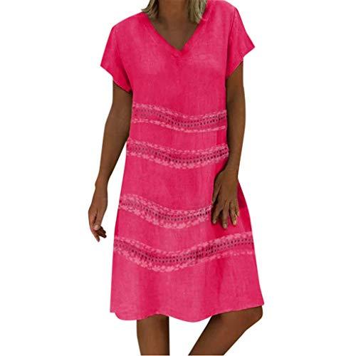 Tantisy ♣↭♣ Women's Plus Size Casual Dress V-Neck Short Sleeve Midi Dress Star Print Chic Swing Dress Hot Pink