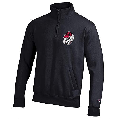 Elite Fan Shop Georgia Bulldogs Quarter Zip Sweatshirt Captain Black - L