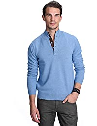 "<span class=""a-offscreen"">[Sponsored]</span>Men's 100% Pure Cashmere Button Mock-Neck Polo Collar Sweater Pullover"