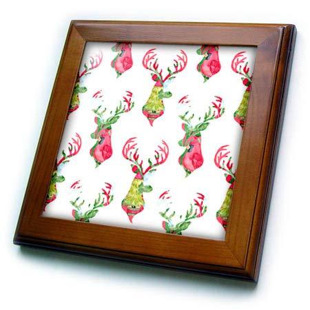 Tile Framed Deer - 3dRose Anne Marie Baugh - Christmas - Chic Image of Watercolor Deer Buck Pattern - 8x8 Framed Tile (ft_318509_1)
