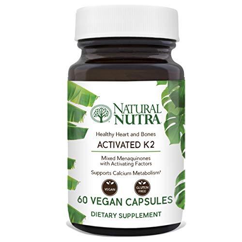 Natural Nutra Full Spectrum Vitamin K2 Supplement, MK4 to MK7 Plus MK8/9/10 with GLA Activation Complex, 75 mcg, 60 Vegan Capsules
