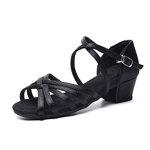 (MSMAX Black Professional Latin Shoes Satin 1.1inch Heel Practice Party Ballroom Wear,Little Kid Size 12)