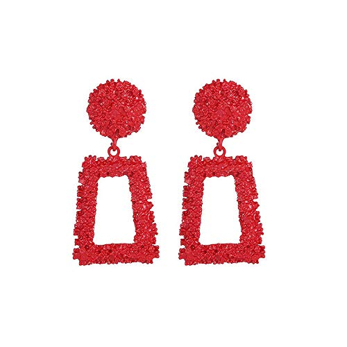 YOMXL Exaggerated Trapezoidal Earrings,Women Jewelry Accessories Casual Wild Personality Creative Embossed Earrings Dangle Drop Earrings ()