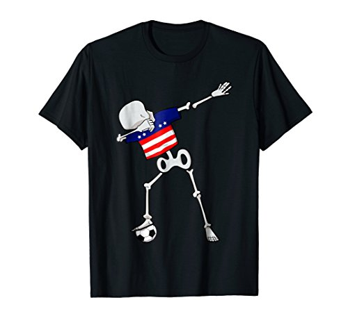 Dabbing Skeleton USA Soccer | American Dab Dance Football by National World Soccer Team Flag T-Shirts 11