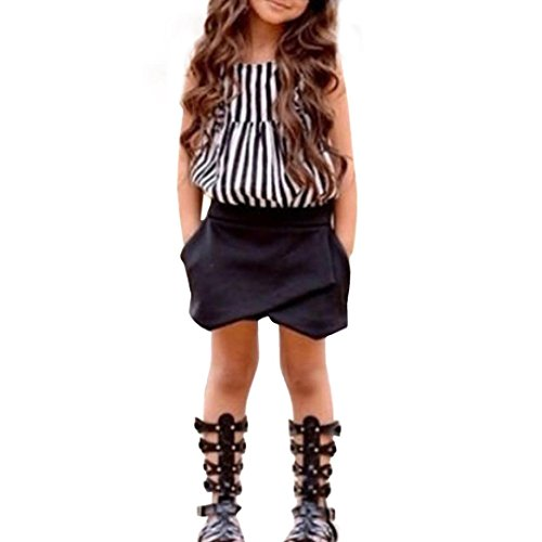 FEITONG Kids Baby Girls Leopard Printing Short Sleeveless Dress (6-7Y, Z-Black) -