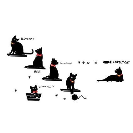 Pattern Pared eDealMax Cat Kitchen Decor etiqueta engomada desprendible de la etiqueta mural de 50 x 70 cm - - Amazon.com