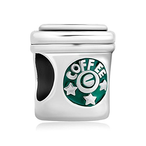 Pugster Coffee Cup Star Office Charms Silver Plated New Bead Pandora Chamilia ()