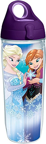 Tervis 1225970 Disney Frozen - Anna and Elsa Magic Tumbler with Wrap and Purple Lid 24oz Water Bottle, Clear