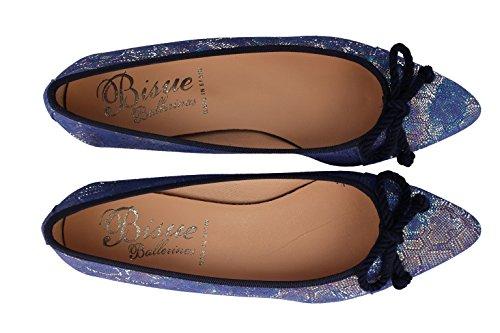 Color 3CM Fantasía 20 DE Tacón EN Bisue Piel DE Bailarina Azul Y xZ6PYBCq