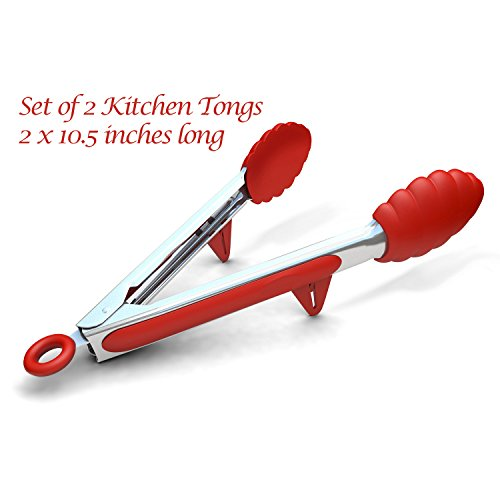 Kitchen Tongs with Built-in Stand, Set of 2, Red, 10.5 Inch, Stainless Steel and Silicone, Cooking Utensils