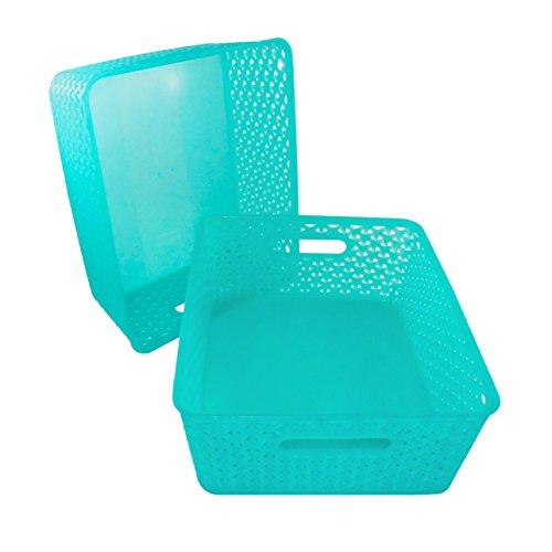 Basket Weave Plastic Storage Turquoise product image