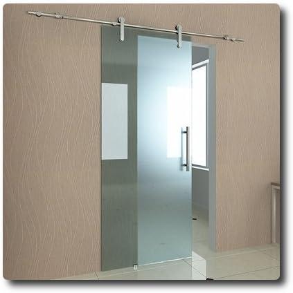 Puerta Corredera 90 x 205 cm de 10 mm de grosor de vidrio satinado cristal de seguridad # 04: Amazon.es: Bricolaje y herramientas