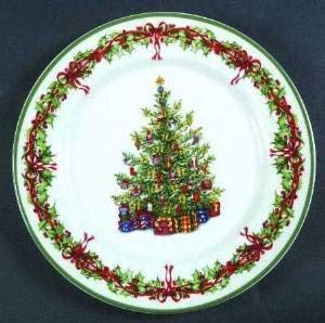 Dinner Plate by Christopher Radko/ Holiday Celebrations /Traditions Collection/ Christmas Tree