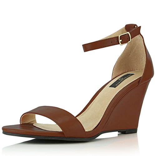 DailyShoes Women's Ankle Open Toe Wedge Fashion Shoes, Brown PU, 9 B(M) ()