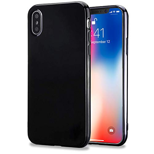 (TENOC Case Compatible for Apple iPhone X/10 and iPhone Xs, Slim Fit Soft TPU Cover Glossy Finish Coating Full Protective Bumper Black)
