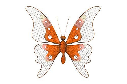 Alpine Corporation Metal Orange Butterfly Wall Decor