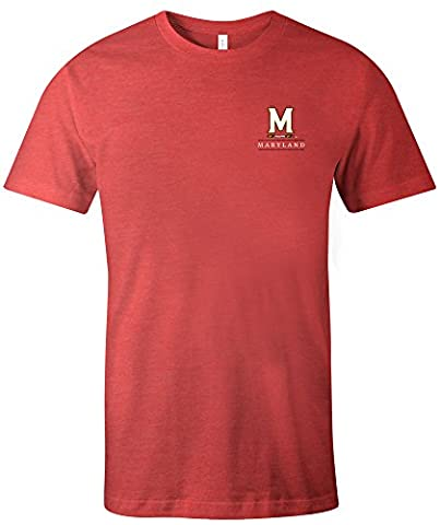 NCAA Maryland Terrapins Adult Unisex NCAA Simple Mascot Short sleeve Triblend T-Shirt,Small,Red - Maryland Terps Ncaa Basketball