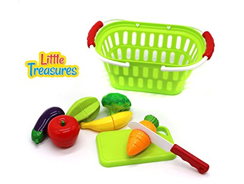 Little Treasures Fruits and Vegetables Shopping Basket Pretend Play Food Kitchen Toy Playset for Boys and Girls Playtime (Playtime Kitchen)