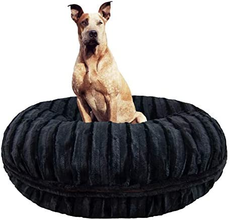 BESSIE AND BARNIE Signature Black Puma Extra Plush Faux Fur Bagel Pet Dog Bed Multiple Sizes
