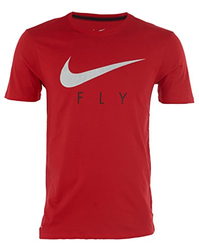 Nike Menns Basketball Fly Grafisk Tee Shirt Red 645155 Red