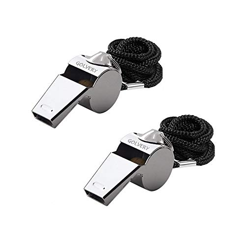 Golvery Petrel S10 Metal Referee, Coach Whistle - Stainless Steel - Extra Loud Whistle with Lanyard for School Sports, Soccer, Football, Basketball and Lifeguard Protection etc (Silver-2pcs)]()