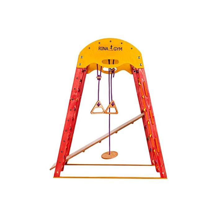 ?TERRENO DE DIVERSIÓN - ¡Los niños se divertirán mucho con este gimnasio! Incluye una escalera sueca, una red para trepar, anillos para columpios y un tobogán ¡Perfecto desatar la energía! ?DESARROLLO FÍSICO - Nuestro gimnasio anima a los niños a mantenerse activos. Las actividades físicas regulares contribuyen a su salud y crecimiento, logrando un corazón, huesos y músculos fuertes. ?PARA COMPARTIR - Este equipo de juegos tiene una capacidad de peso de hasta 60 kg, perfecto para 2 niños de 1 a 5 años y mayores! Brinda un gran modo de mejorar las habilidades sociales a edad temprana.