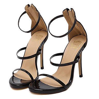 LvYuan Mujer-Tacón Stiletto-Tira en el Tobillo-Sandalias-Casual / Fiesta y Noche / Vestido-Semicuero-Negro Black
