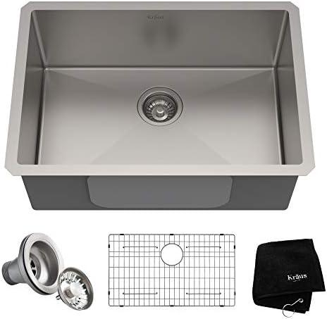 Kraus KHU100-26 Kitchen Sink, 26 Inch, Stainless Steel Renewed