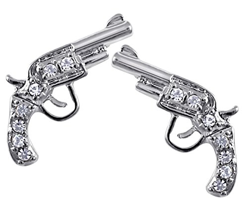 Small Silver Tone Clear Crystal Handgun Gun Pistol Stud Earrings for Teens and Women Fashion (Country And Western Costumes)