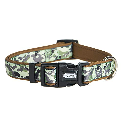 YUDOTE Durable Dog Collar with Classic Camouflage Pattern, Neoprene Padded Soft and Comfortable, Adjustable Collars for Male Dogs & Puppies (Male Puppy Collar And Leash)