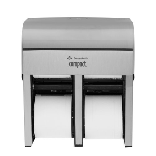 """Compact 4-Roll Quad Coreless High-Capacity Toilet Paper Dispenser by GP PRO, Stainless, 56748, 11.750"""" W x 6.900"""" D x 13.250"""" H"""