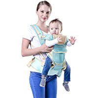 9 in 1 Baby Carrier with Hip Seat - 360 Degree Ergonomic Organic Cotton Baby Sling, all carry positions child sling for New born, Infant, Toddler. All in one Premium light weight portable baby carrier backpack infant wrap with detachable hoodie, head supporter, detachable hip wrap - Easily adjustable breathable mesh safe and comfortable for Child, Mom and Dad-Great for baby shower gifting (Blue Color)
