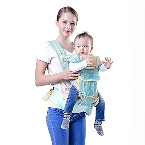 b64e5890dbb Buy INDEBLUE 9 in 1 Baby Carrier with Hip Seat -360 Degree Ergonomic  Organic Cotton Baby Sling (Blue) Online at Low Prices in India - Amazon.in