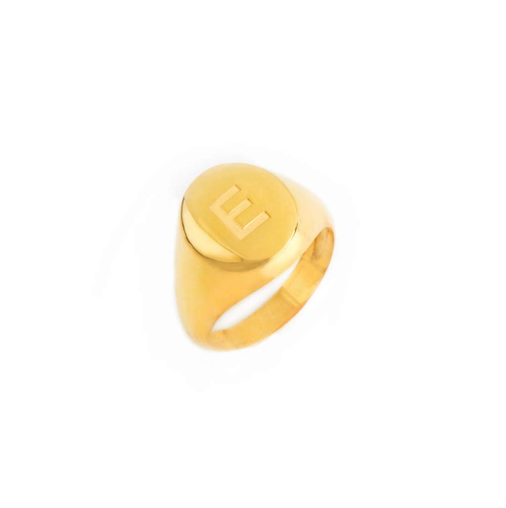 Oval signet Seal yellow gold ring Inspirational ring Gift for women. Flower ring Signet ring women Unique ring