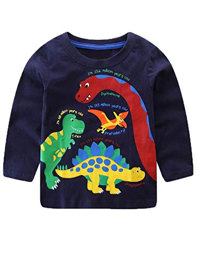(Mengmeng Baby Boys T Shirt Children Clothing Dinosaur Clothes Boys Long Sleeve Tops Kids T-Shirts for Boy Sweatshirt, Blue3,)