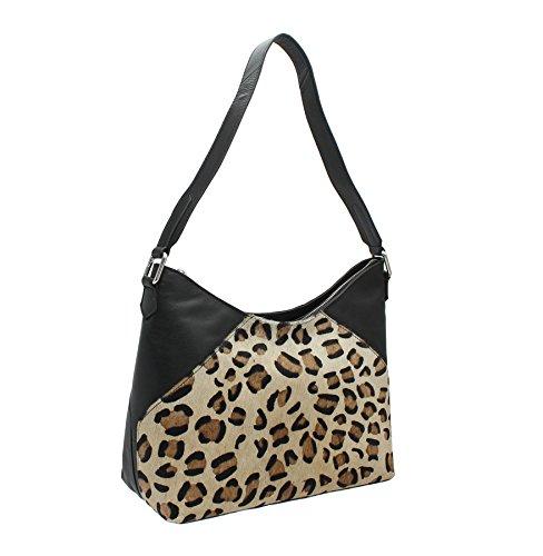 Mala Leather MATRAH Collection Leather Animal Print Shoulder Bag 7104_90 Zebra Cheetah